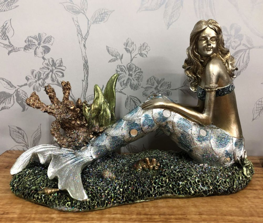 Beautiful Bronzed Effect Relaxing Mermaid Glittery Ornament